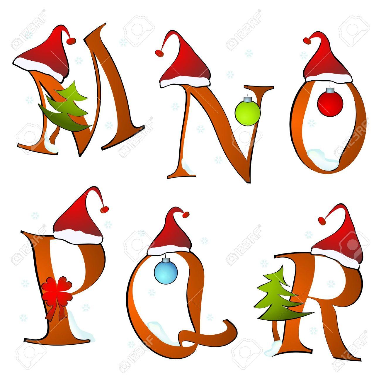 Christmas clipart letters. Alphabet set winter m