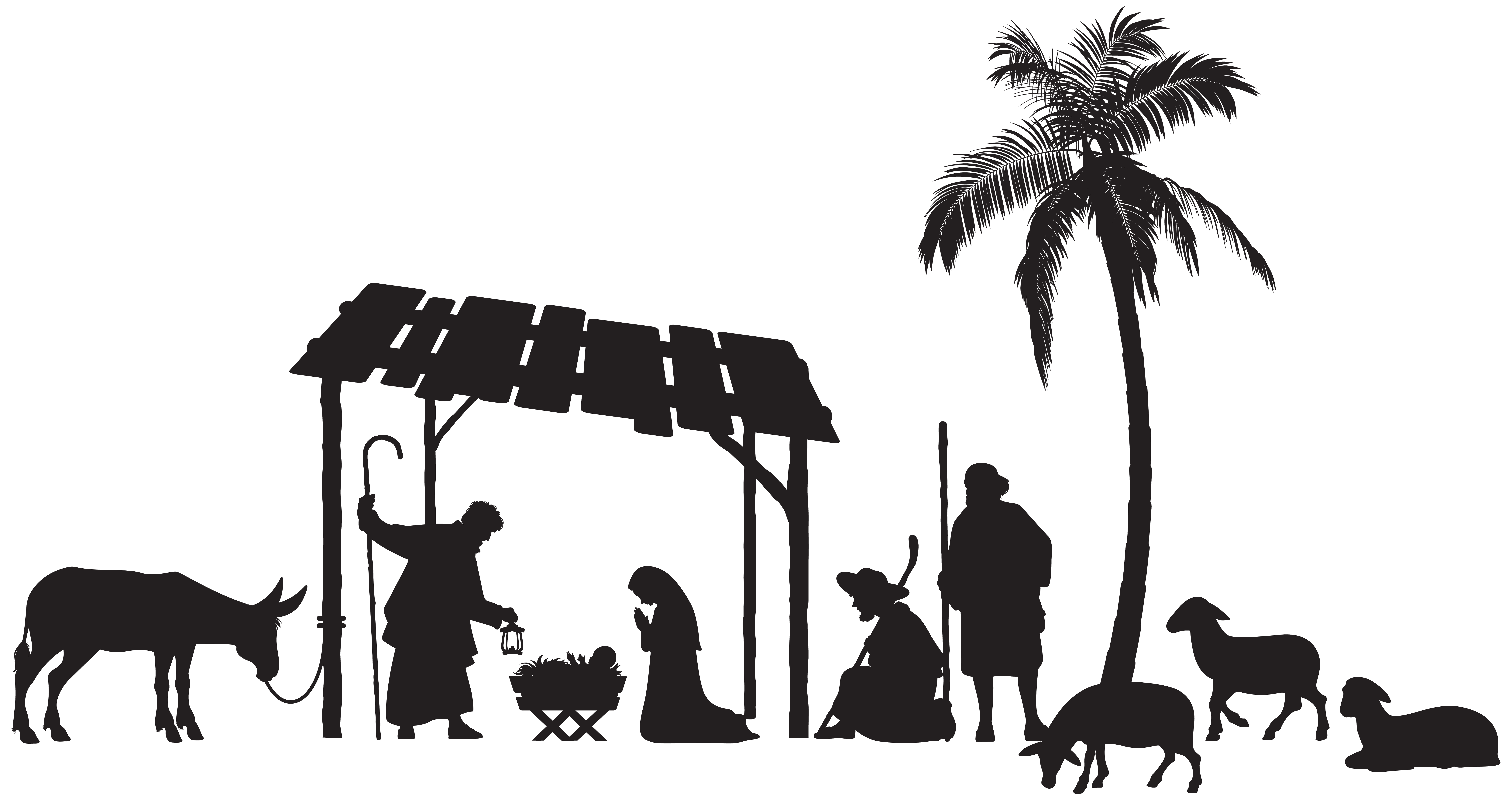 Nativity christmas clipart free stock Nativity Scene Silhouette PNG Clip Art Image | Gallery Yopriceville ... free stock