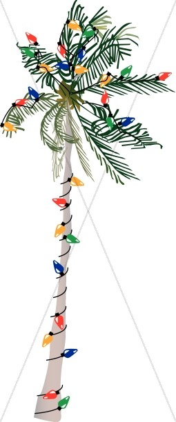Palm tree christmas tree clipart banner library library Palm Tree Strung with Lights | Traditional Christmas Decoration Clipart banner library library