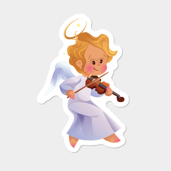 Christmas clipart playing violin graphic free stock Cute Christmas Baby Angel Playing Violin Sticker By Jerars Design By Humans graphic free stock