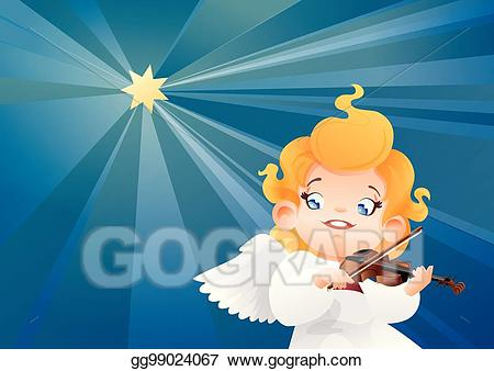 Christmas clipart playing violin clip transparent download EPS Vector - Smilyng flying on a night sky kid angel musician ... clip transparent download