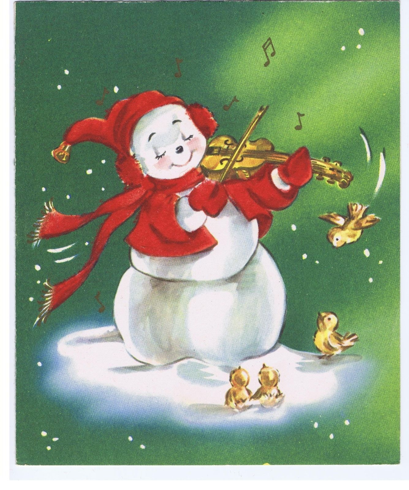 Christmas clipart playing violin clipart stock Flocked Anthropomorphic Snowman Playing Violin Birds Vintage ... clipart stock