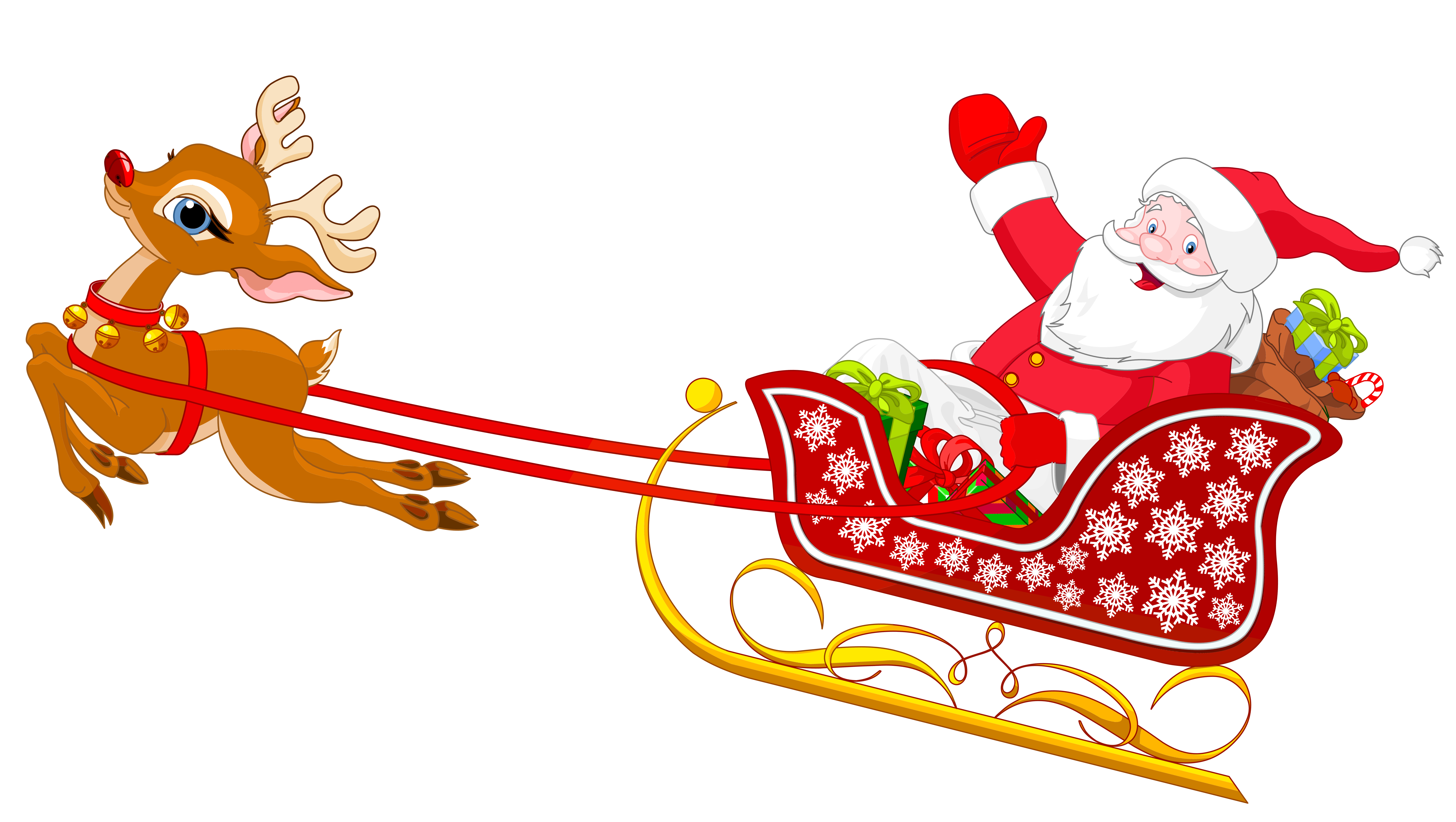Christmas reminder clipart png black and white Santa and Reindeer with Sled PNG Clipart | Gallery Yopriceville ... png black and white