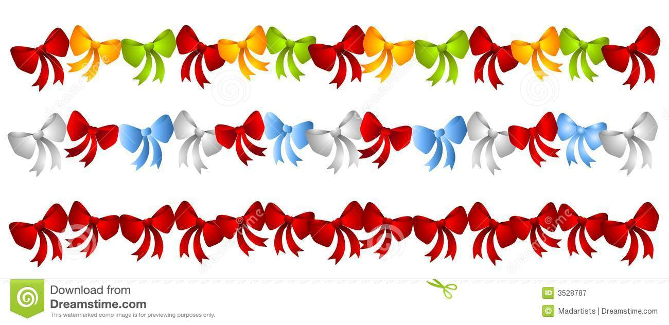 Christmas clipart row graphics. Rows colorful bows royalty