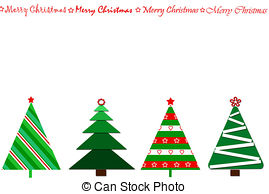 Trees and stock illustrations. Christmas clipart row graphics