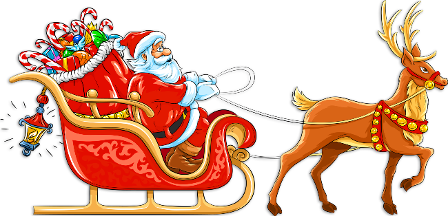 Father christmas and reindeer clipart