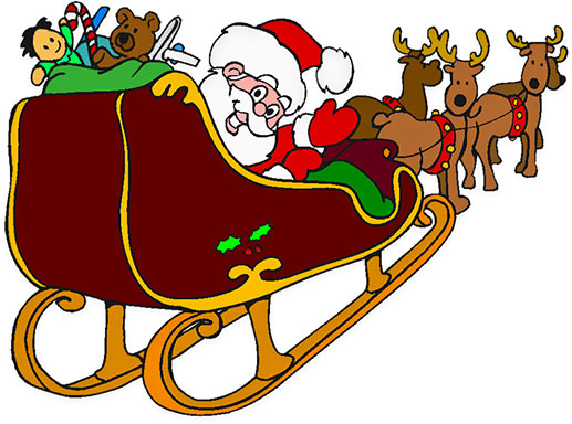Free clipart santa and sleigh png black and white stock Free Christmas Clipart - Santa, Rudolph, Sleigh png black and white stock