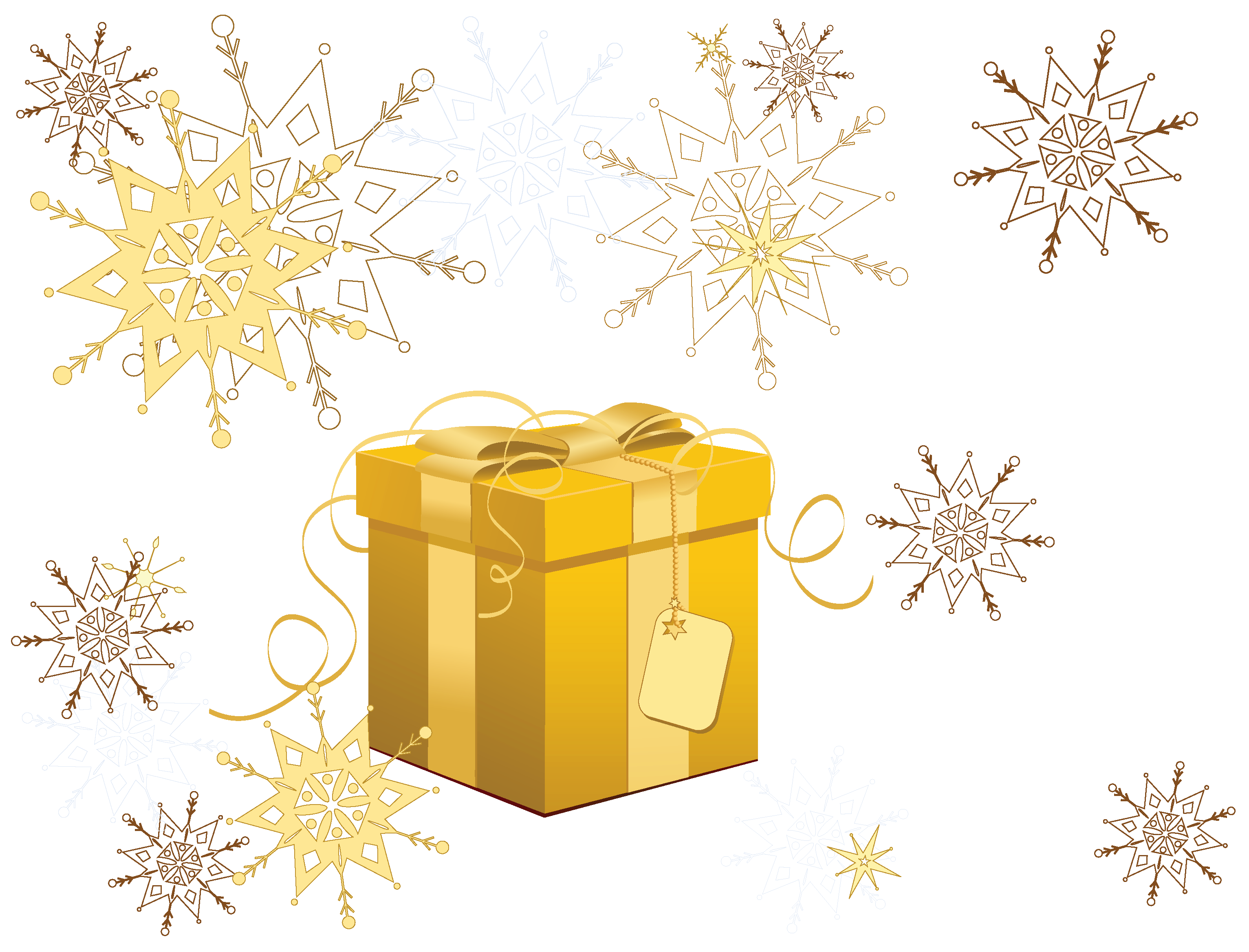 Clipart snowflake transparent clip download Transparent Yellow Christmas Gift with Snowflakes Clipart | Gallery ... clip download