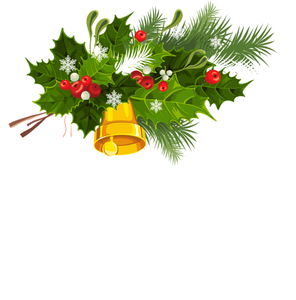 Green snowflake png clipart graphic freeuse Transparent Christmas Bell Mistletoe and Snowflakes PNG Clipart ... graphic freeuse