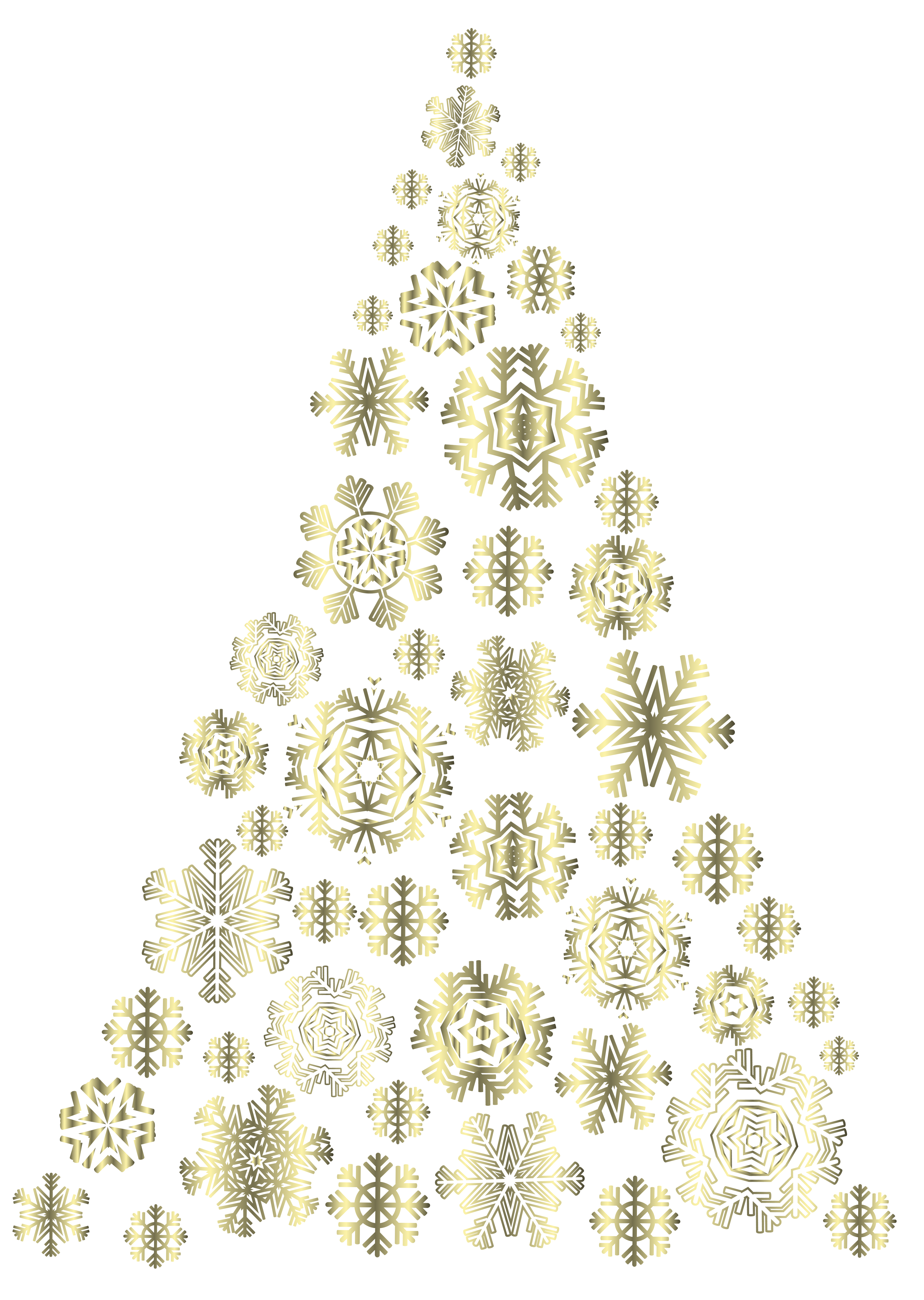 Gold snowflake clipart images banner royalty free library Golden Snowflakes Christmas Tree PNG Image | Gallery Yopriceville ... banner royalty free library
