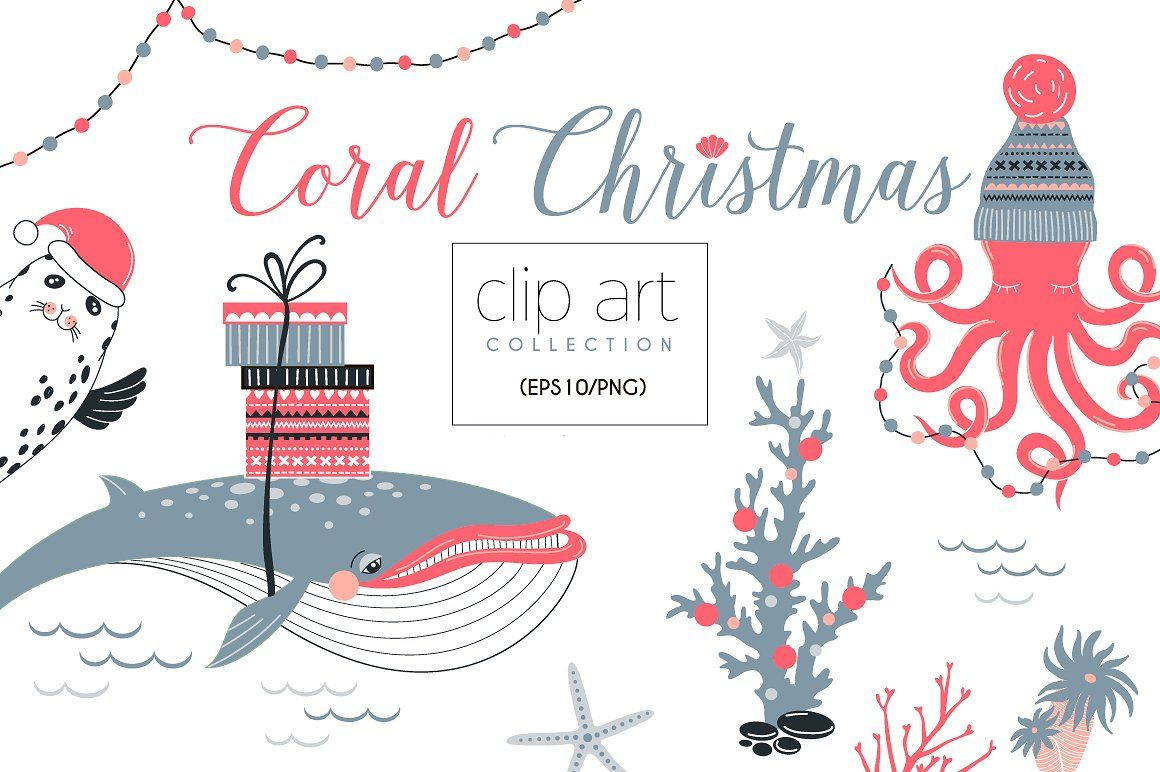 Christmas clipart software png black and white download Coral Christmas clip art collection #set#elements#design#Matching ... png black and white download