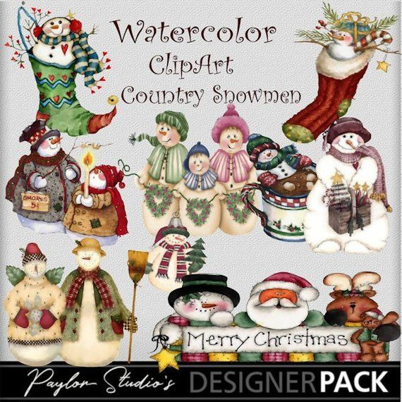 Christmas clipart software jpg library stock Watercolor snowman clipart Christmas clipart Country Snowmen ... jpg library stock