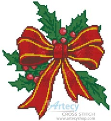 Christmas clipart stich freeuse stock Artecy Cross Stitch. Christmas Bow Cross Stitch Pattern to print online. freeuse stock
