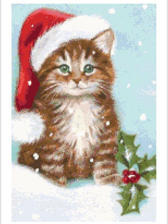 Christmas clipart stich banner royalty free download Kitty Christmas cross stitch pattern   Products   Christmas kitten ... banner royalty free download