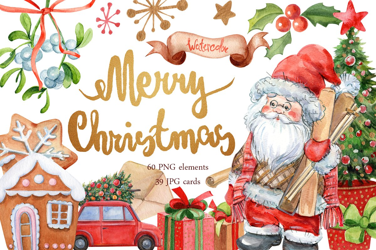 Merry christmas to all clipart picture freeuse stock Merry Christmas clipart ~ Illustrations ~ Creative Market picture freeuse stock