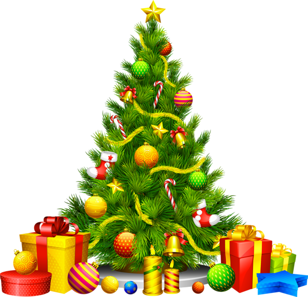 Transparent christmas clipart clip library library Large Transparent Christmas Tree with Presents Clipart | Clipart ... clip library library