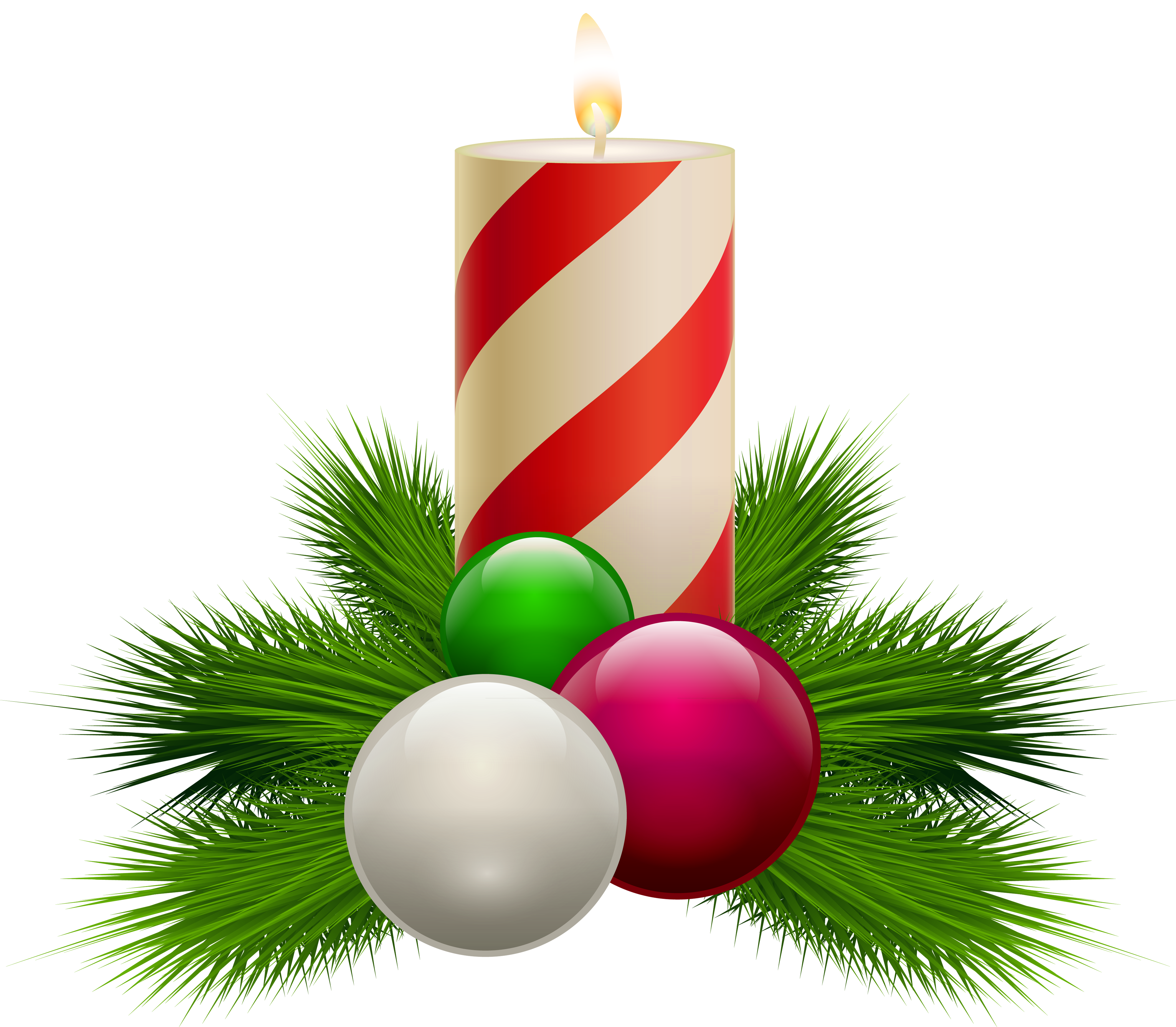 Christmas clipart transparent background free library Transparent Christmas White Candle PNG Clipart free library