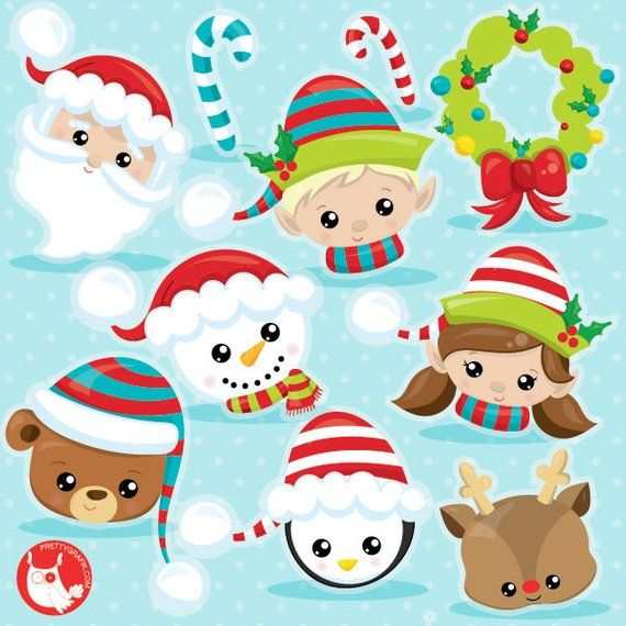Christmas clipart tumblr banner freeuse library BUY20GET10 - Christmas faces clipart commercial use, Christmas ... banner freeuse library