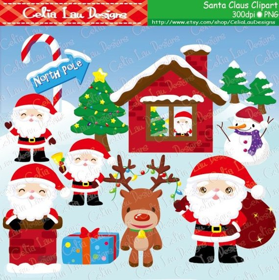 Christmas clipart videos image stock Santa Claus Clipart, Reindeer, Snowman , Christmas tree , North Pole ... image stock