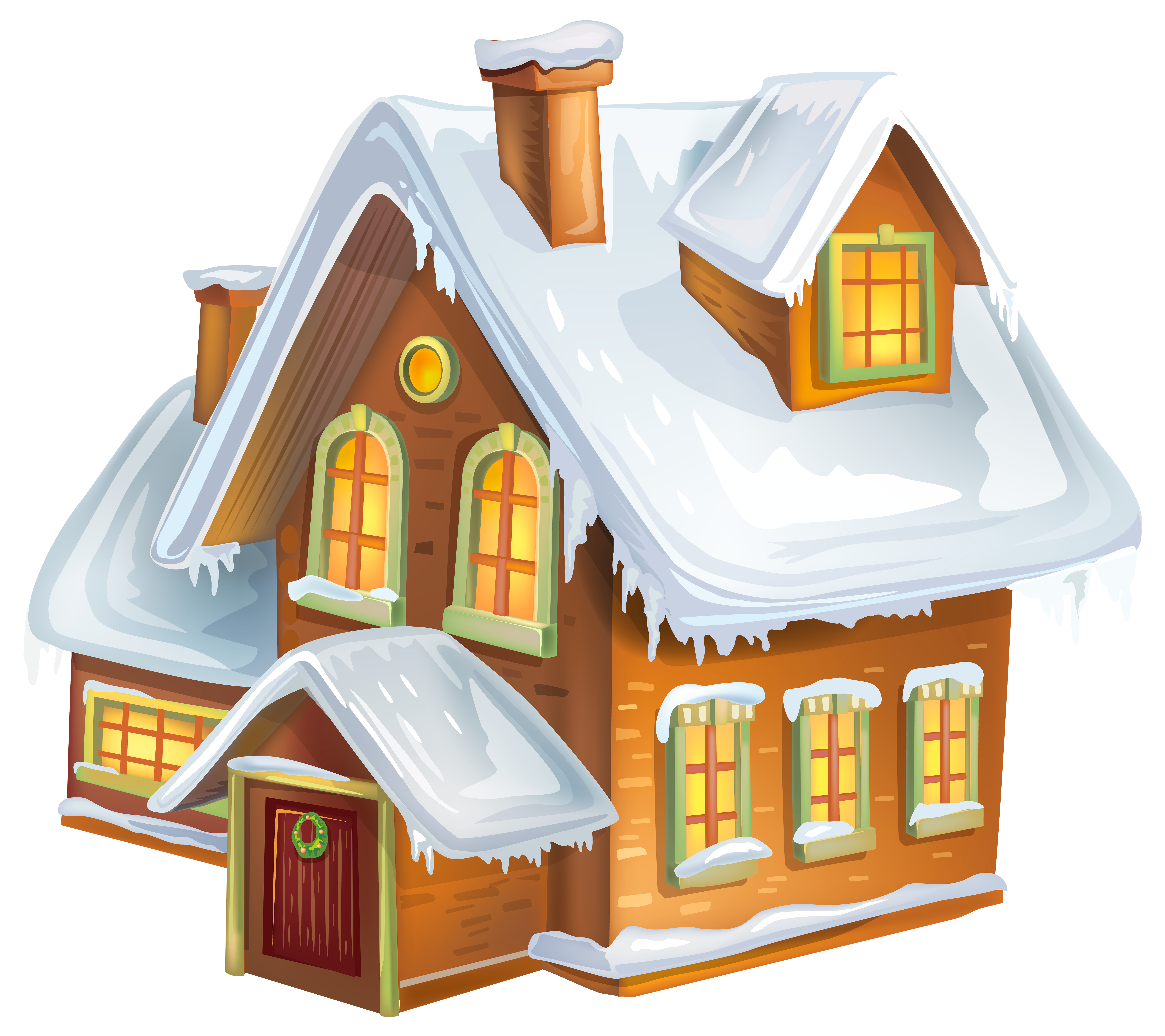 Christmas clipart with house banner transparent Christmas Winter House Transparent PNG Clip Art Image | Gallery ... banner transparent