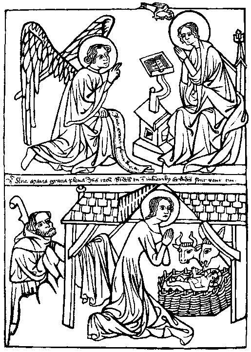 Christmas clipart woodcut clip library Medieval Woodcuts Clipart Collection | Christmas | Nativity, Birth ... clip library