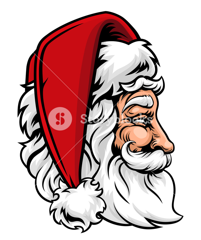 Christmas clipart woodcut transparent library Original illustration of Christmas Santa Claus in profile in a ... transparent library