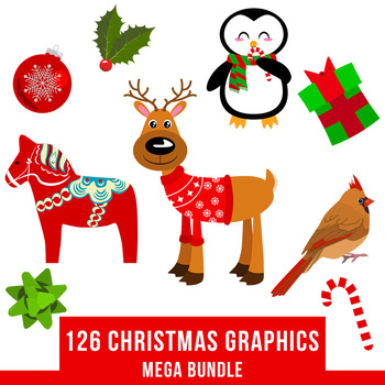Christmas cliparts packs clip freeuse stock 126 Christmas Clipart Mega Bundle, Winter Clipart Kit, Holiday Clipart Pack clip freeuse stock