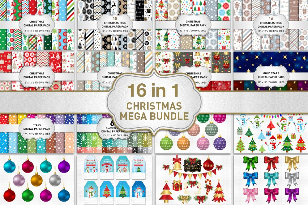 Christmas cliparts packs image stock Christmas Bundle Christmas Digital Paper Pack Christmas Clipart image stock