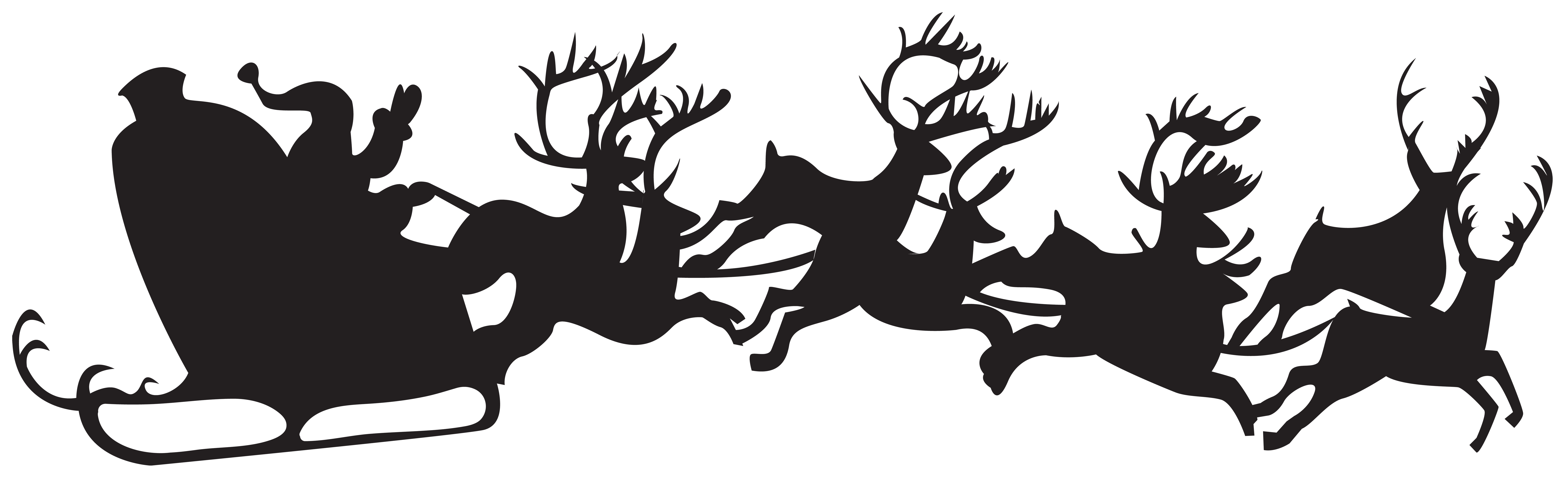 Christmas cliparts silhouette svg black and white Christmas Silhouette Santa Claus with Sleigh PNG Clip Art | Gallery ... svg black and white