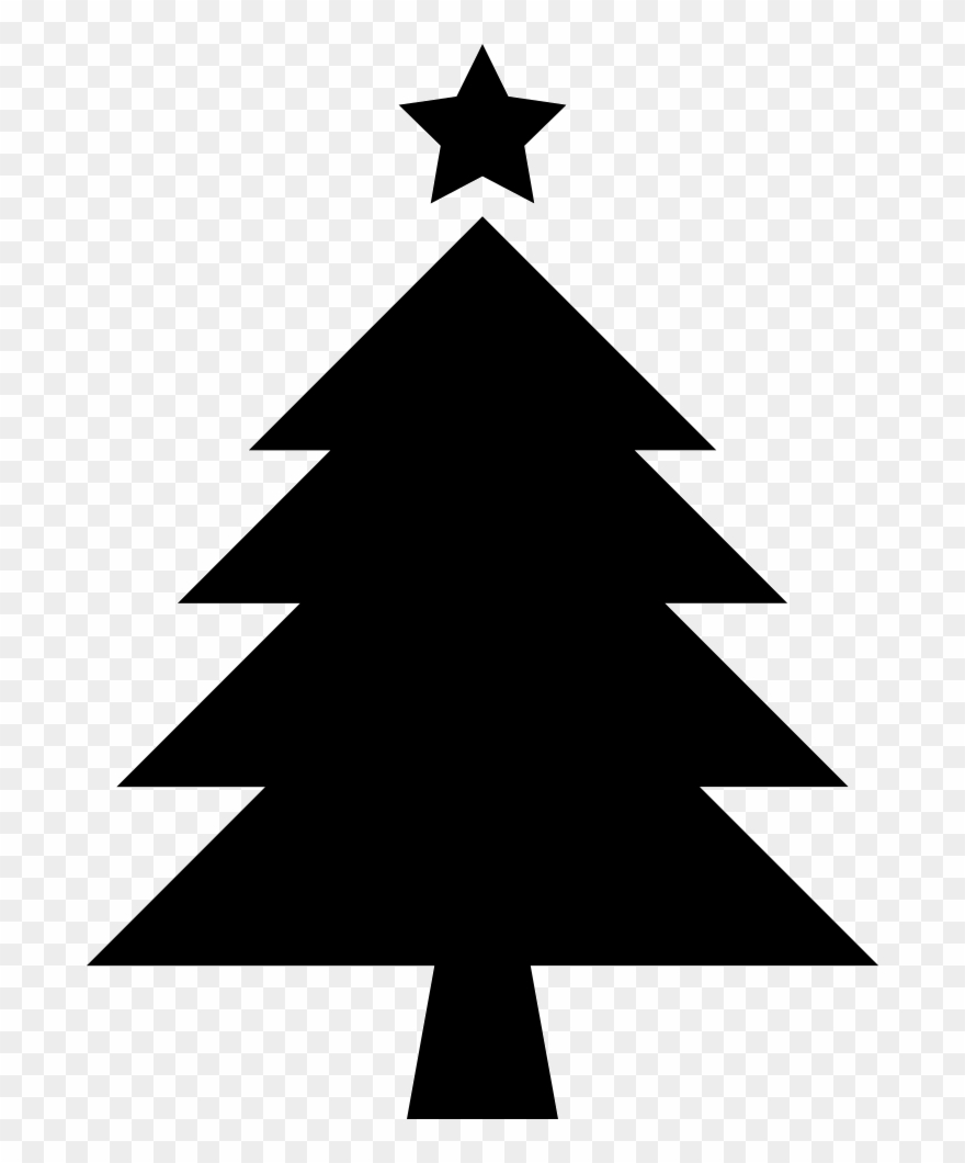 Christmas cliparts silhouette jpg black and white Christmas Tree With Star - Christmas Tree Silhouette Clipart - Png ... jpg black and white
