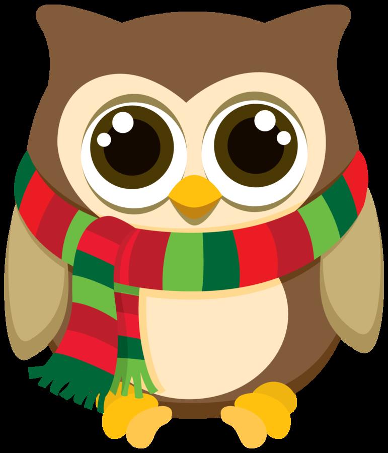 Minus say hello navidad. Cute christmas owl clipart