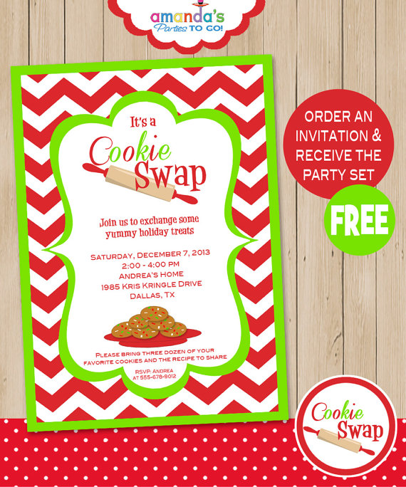 Christmas cookie exchange free clipart picture black and white Cookie Swap Party Invitation - Includes FREE Instant Download Party ... picture black and white