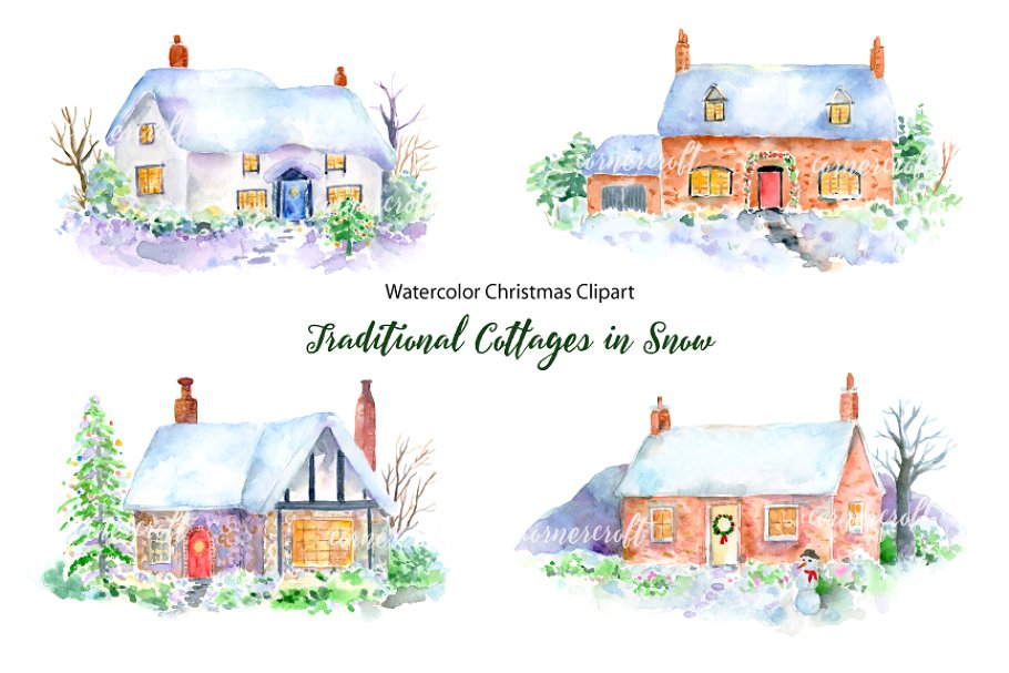 Christmas cottage clipart clip black and white library Christmas Cottage in Snow Clipart clip black and white library