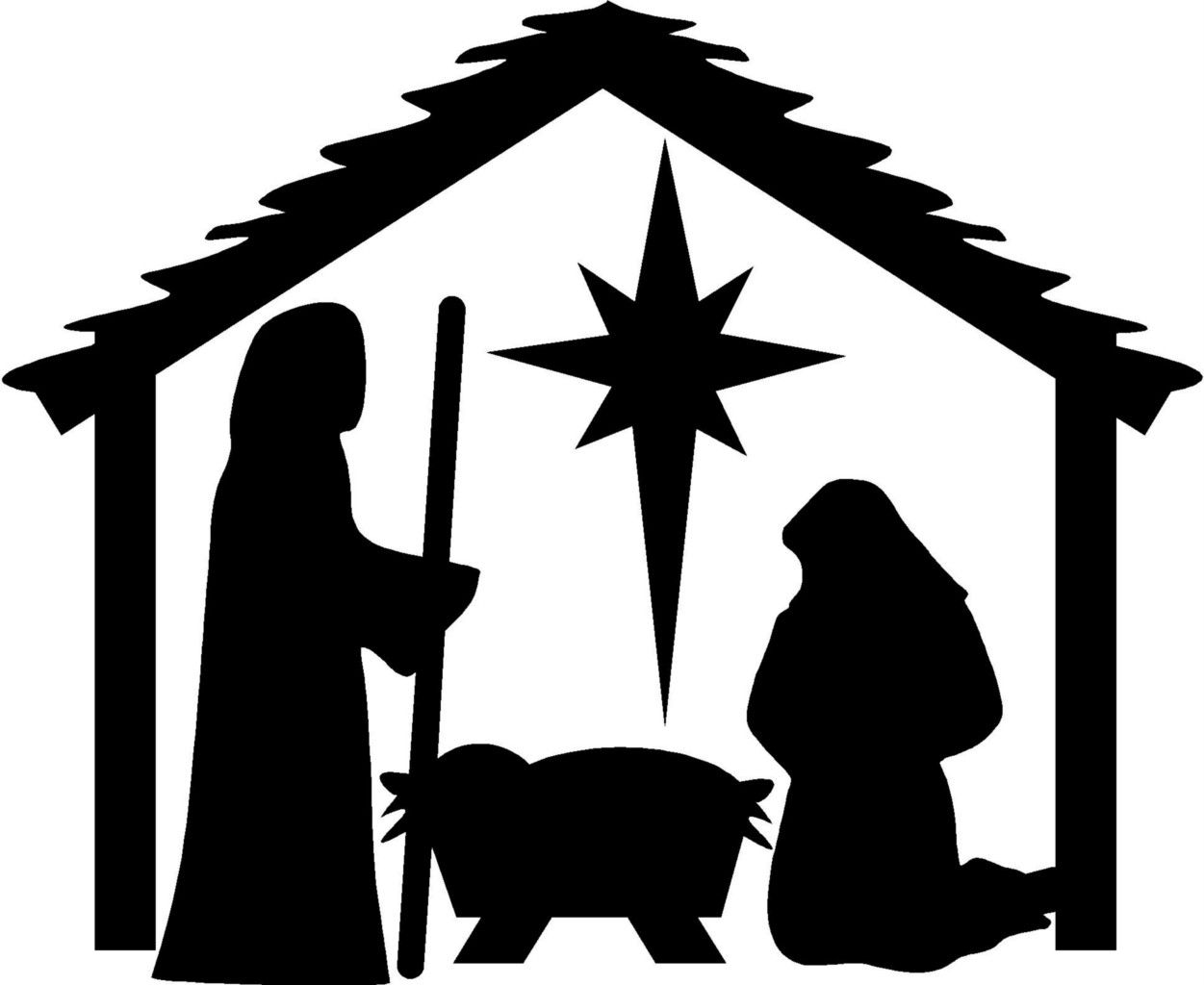 Nativity scene clipart silhouette graphic royalty free download manger scene coloring pages | Details about Nativity Christmas Wall ... graphic royalty free download