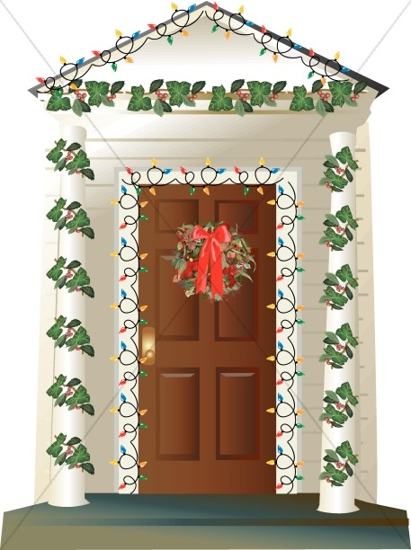 Christmas front door clipart graphic royalty free House with Outdoor Christmas Decorations | Religious Christmas Clipart graphic royalty free