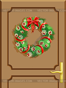 Christmas decorated doors clipart picture freeuse stock Christmas door - vector clipart picture freeuse stock