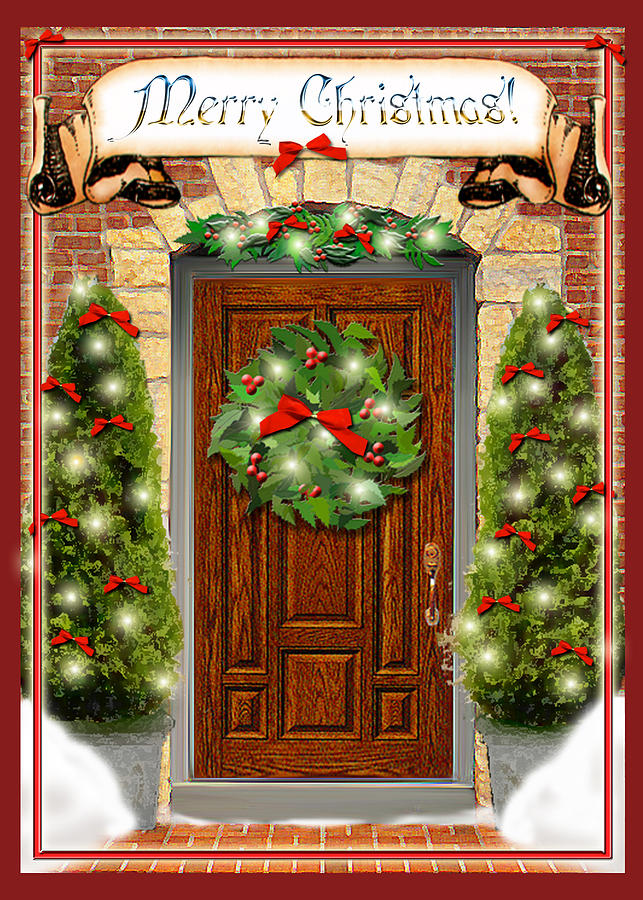 Christmas decorated doors clipart image freeuse download Free Christmas Door Cliparts, Download Free Clip Art, Free Clip Art ... image freeuse download