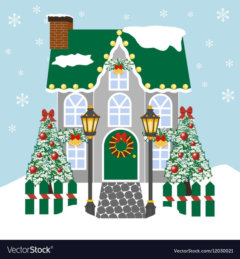 Christmas decorated house clipart clipart transparent stock House Decorated For Christmas Clipart | Why Santa Claus clipart transparent stock