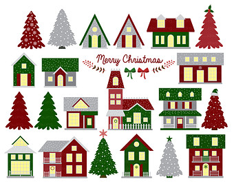 Christmas decorated house clipart graphic stock Free Christmas Street Cliparts, Download Free Clip Art, Free Clip ... graphic stock