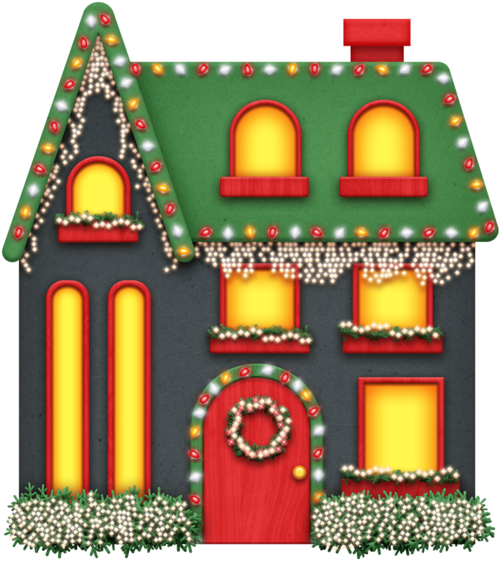 Christmas decorated house clipart png black and white library Christmas Village Illustration clipart - House, Illustration ... png black and white library