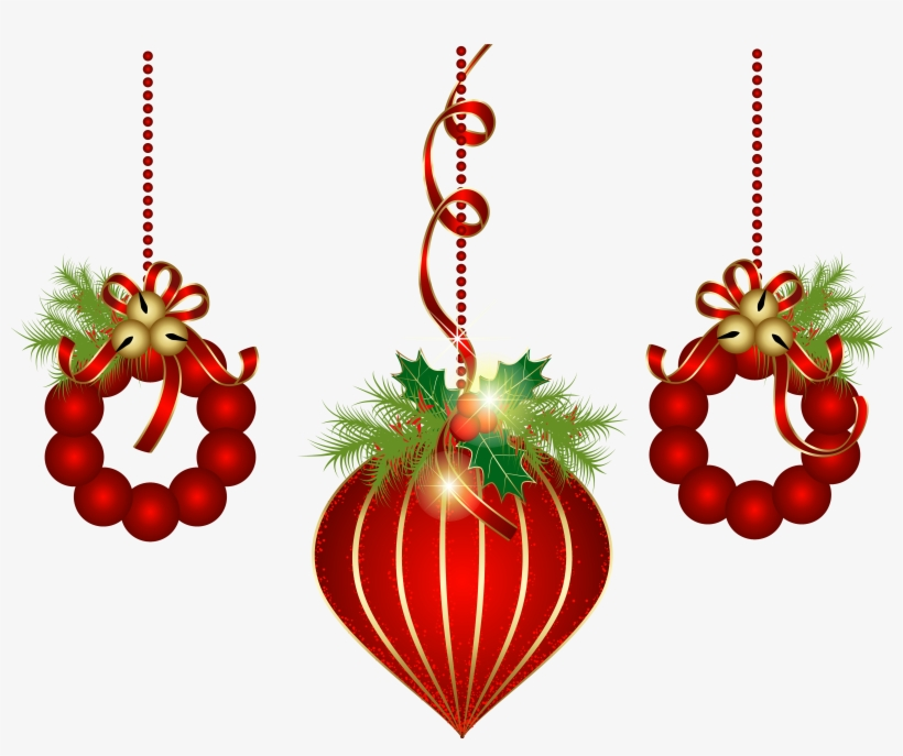 Christmas decorations background clipart image black and white stock Transparent Red Christmas Ornaments Png Clipart - Christmas ... image black and white stock