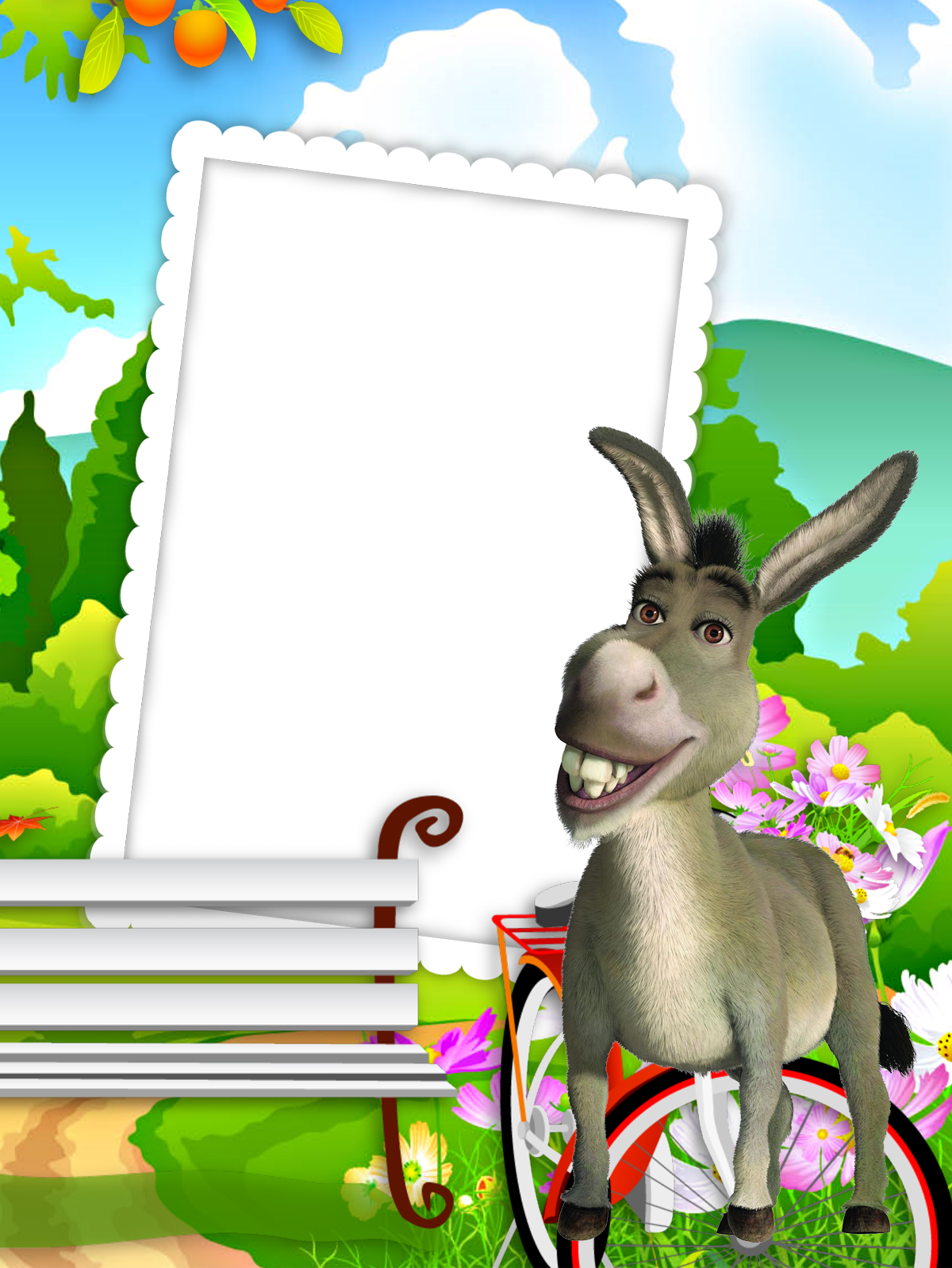Halloween donkey clipart clipart freeuse library Kids Transparent Frame with Donkey | Gallery Yopriceville - High ... clipart freeuse library