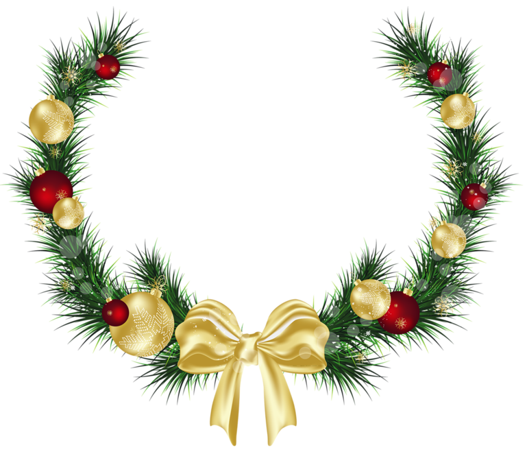 Christmas door clipart image black and white Christmas Pine Decoration PNG Picture | Gallery Yopriceville - High ... image black and white
