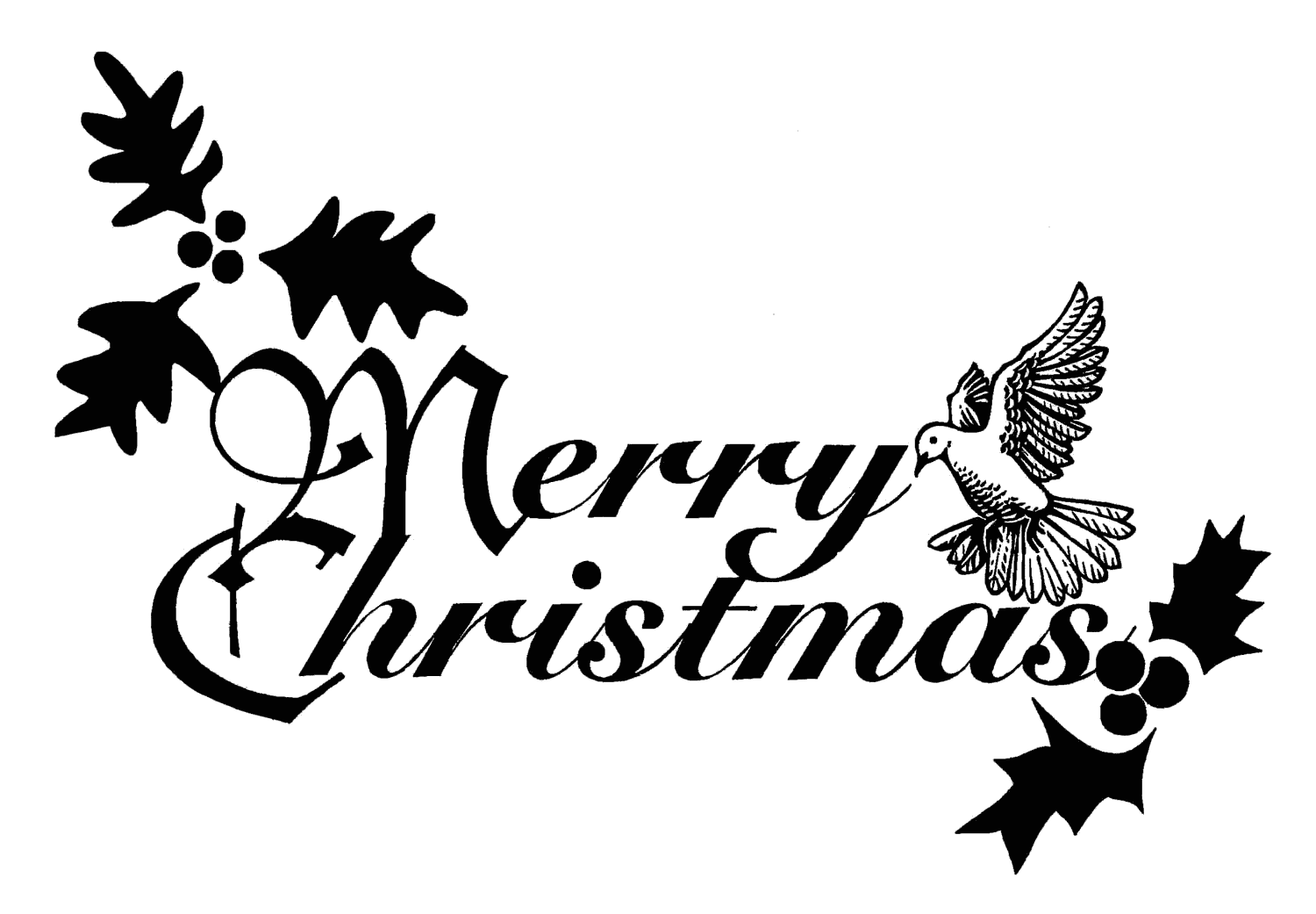 Christmas dove ribbon clipart black and white download Free clipart christmas dove - ClipartFox black and white download