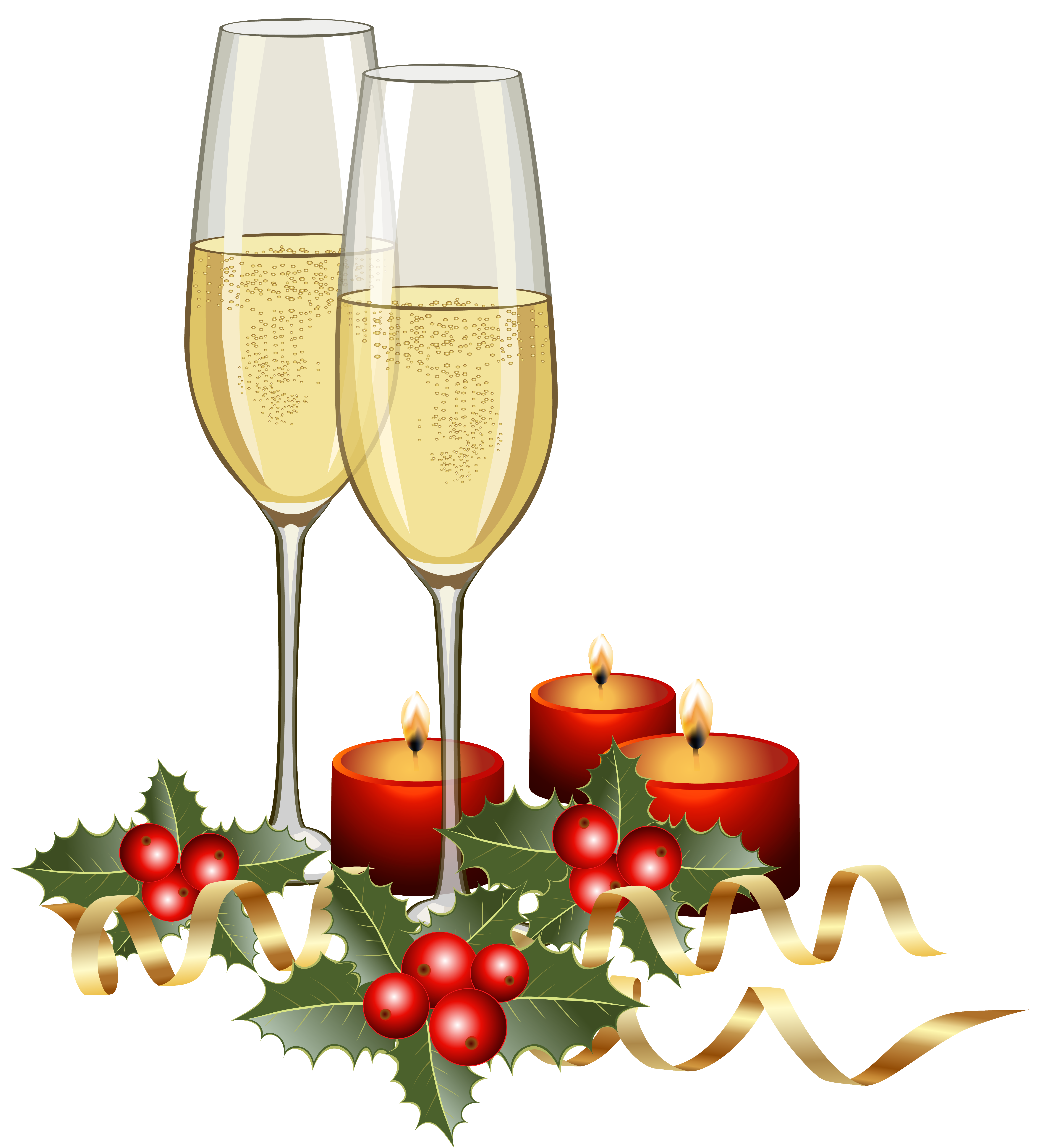 Christmas drink clipart jpg library download Christmas Champagne and Candles PNG Clipart Image | Gallery ... jpg library download