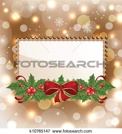 Christmas elegant clip art download Clip Art of Christmas elegant card with mistletoe and bow ... download