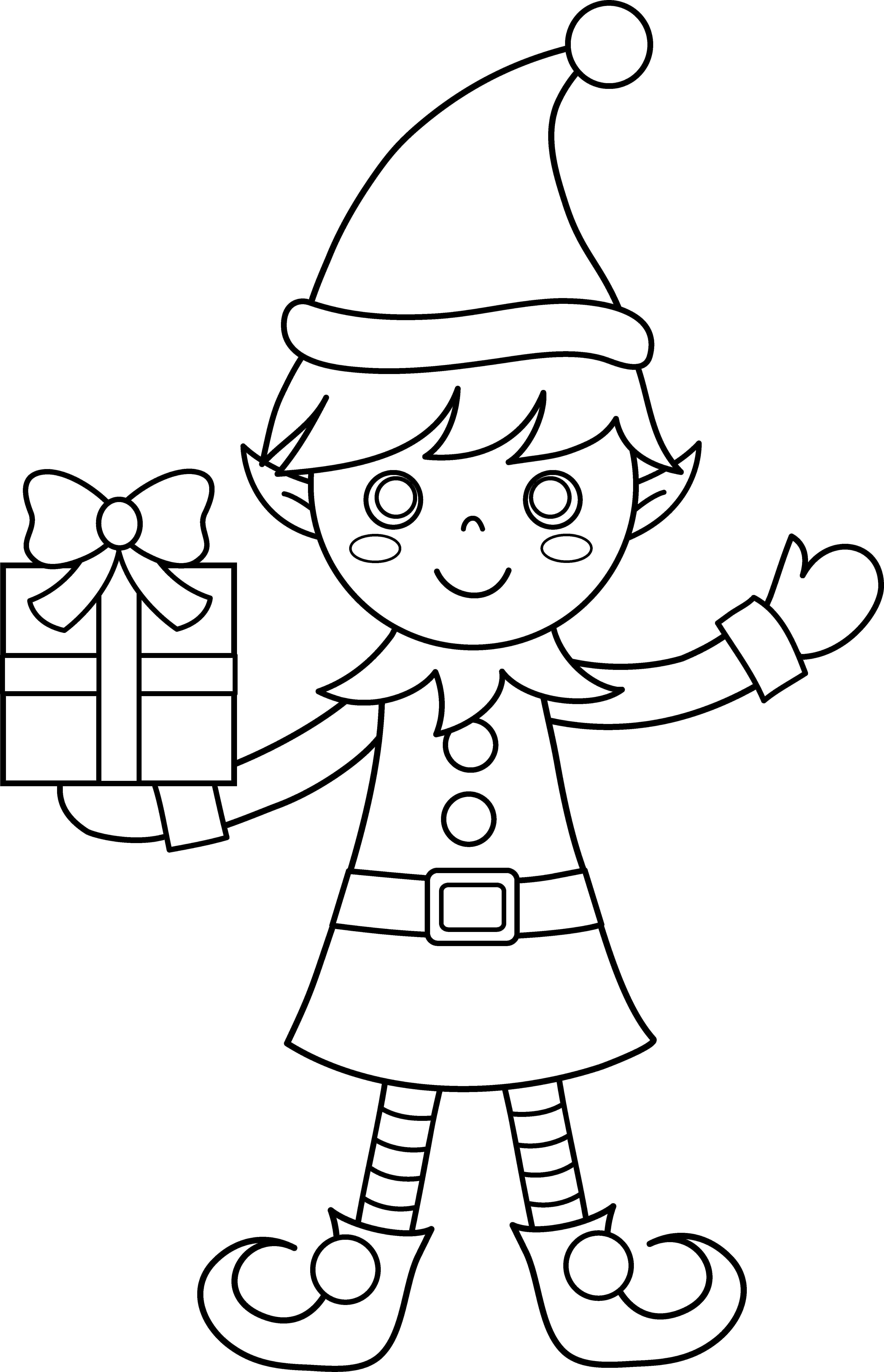 Christmas elf clipart black and white clip art royalty free stock Christmas Elf Coloring Page - Free Clip Art clip art royalty free stock