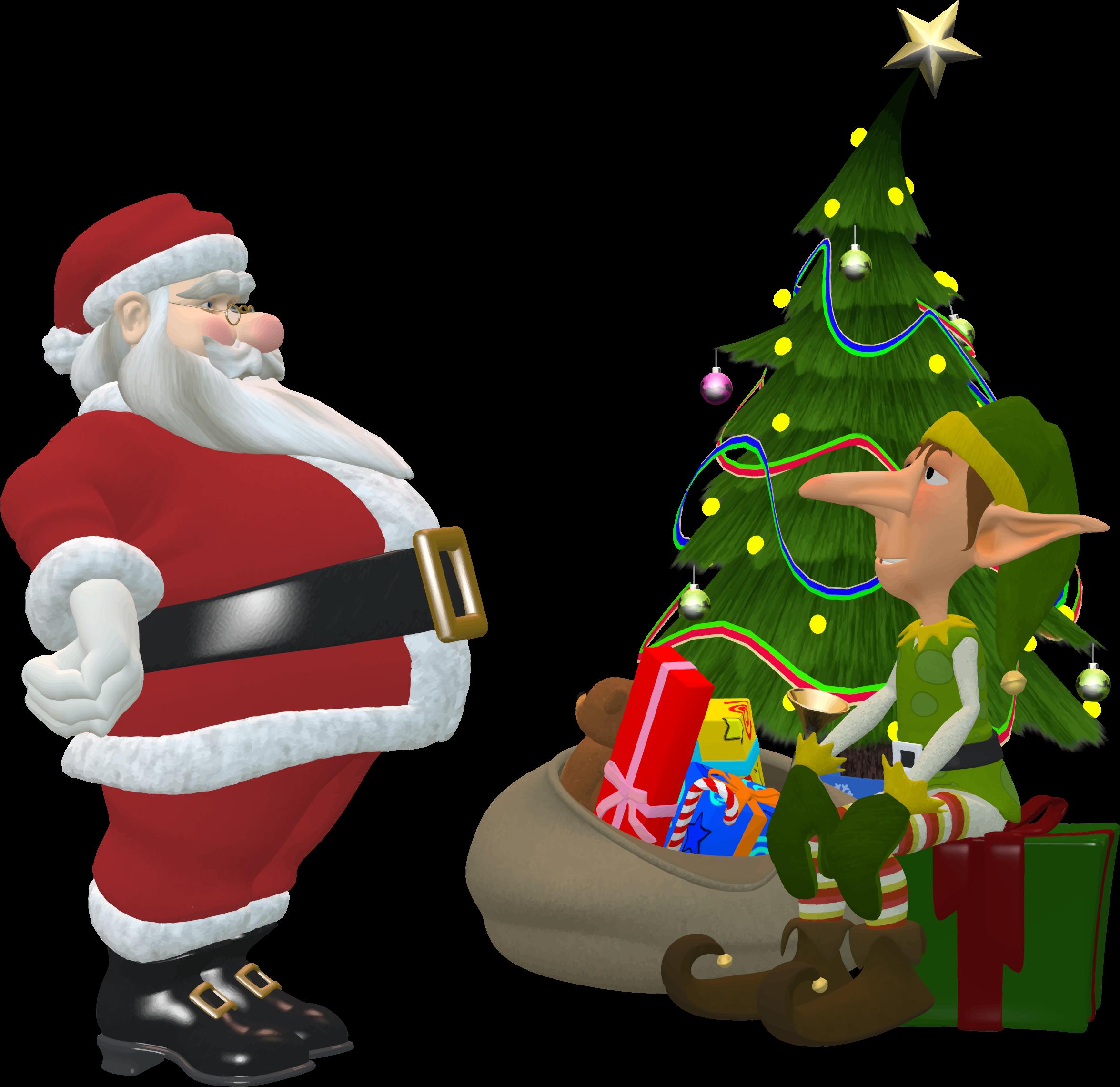 Santa tree clipart png transparent download Clipart - Santa Claus And Elf png transparent download