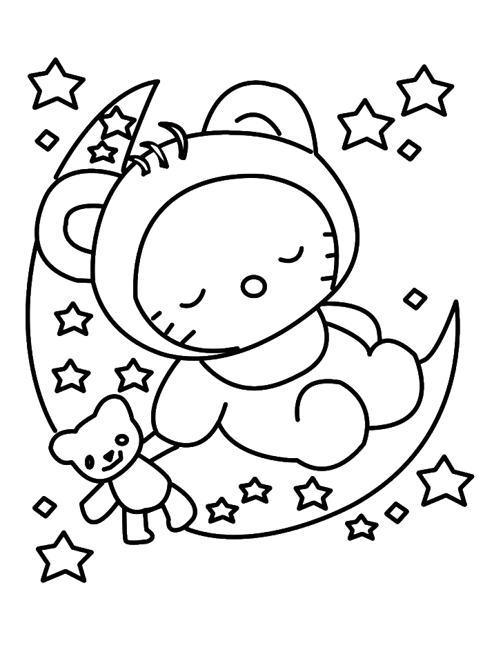 Christmas eve clipart black and white clipart transparent stock Hello Kitty Sleeping In Christmas Eve Coloring Pages - Christmas ... clipart transparent stock
