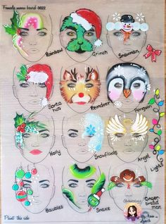 Christmas face painting clipart vector free 1415 Best Winter face painting images in 2019   Painted faces, Xmas ... vector free